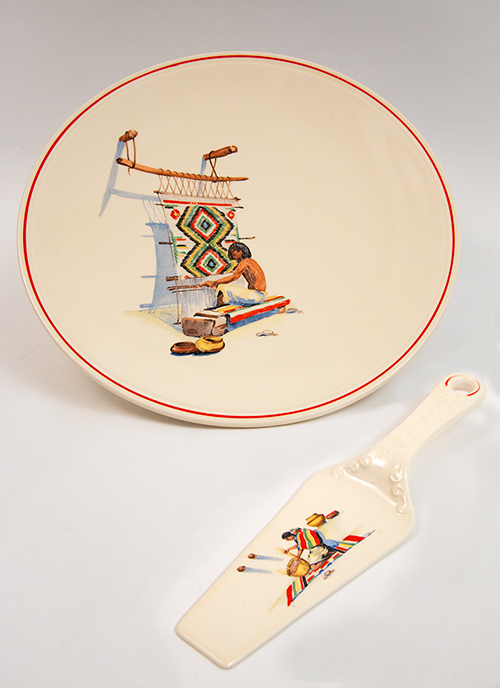 Pueblo kitchen kraft red stripe fiesta cake plate and pie server for sale