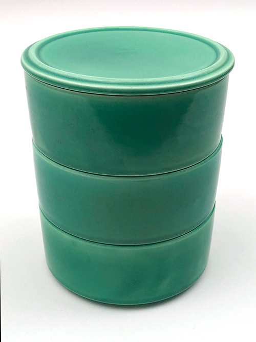 Kitchen Kraft Stacking Refigerator Set in all green glaze