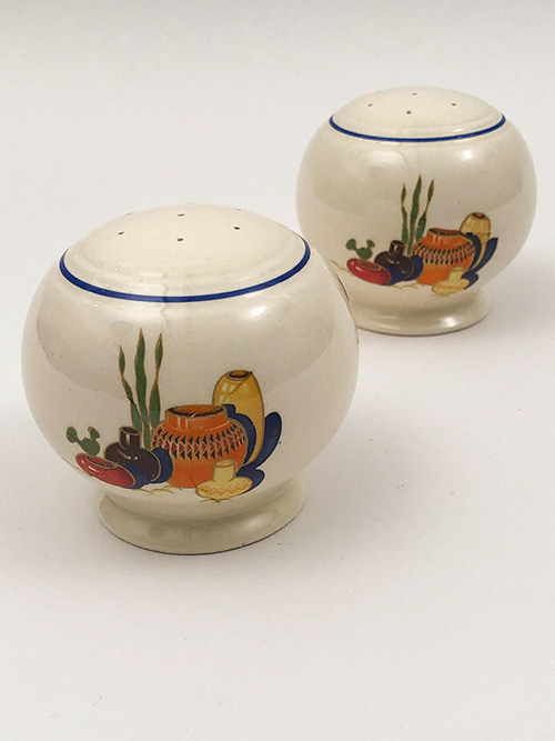 Mexicana Vintage Fiesta Kitchen Kraft Shakers with Blue Stripe