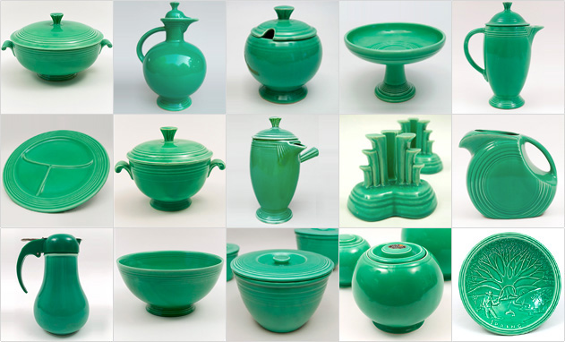 Green Fiestaware Vintage Fiesta 1930s 1940s Original Solid Color Ringware Mix Match Tableware Homer Laughlin Pottery
