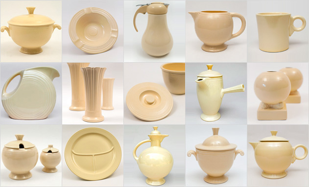 Ivory Vintage Fiestaware Homer Laughlin Pottery 1930s 1940s Solid Color Ringware Mix Match Tableware