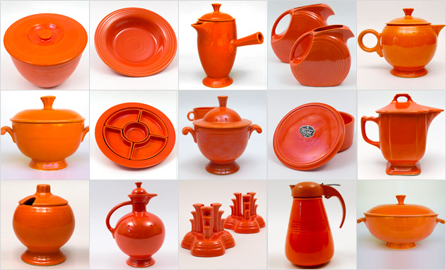 Red Fiestaware Original Vintage Fiesta Homer Laughlin 1930s 1940s 1950s Radioactive Dinnerware